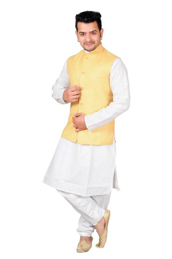 yellow linen waistcoat