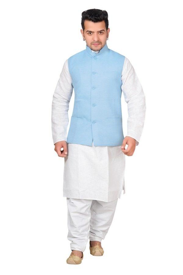 sky light blue waistcoat