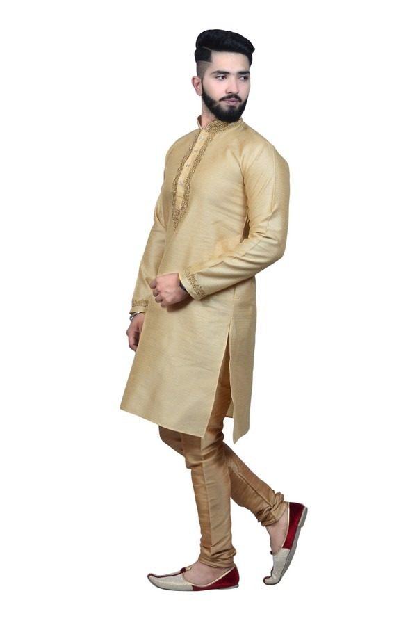mens gold kurta