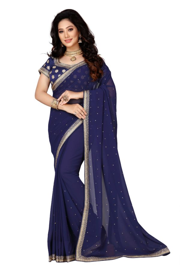 navy saree heavy blouse