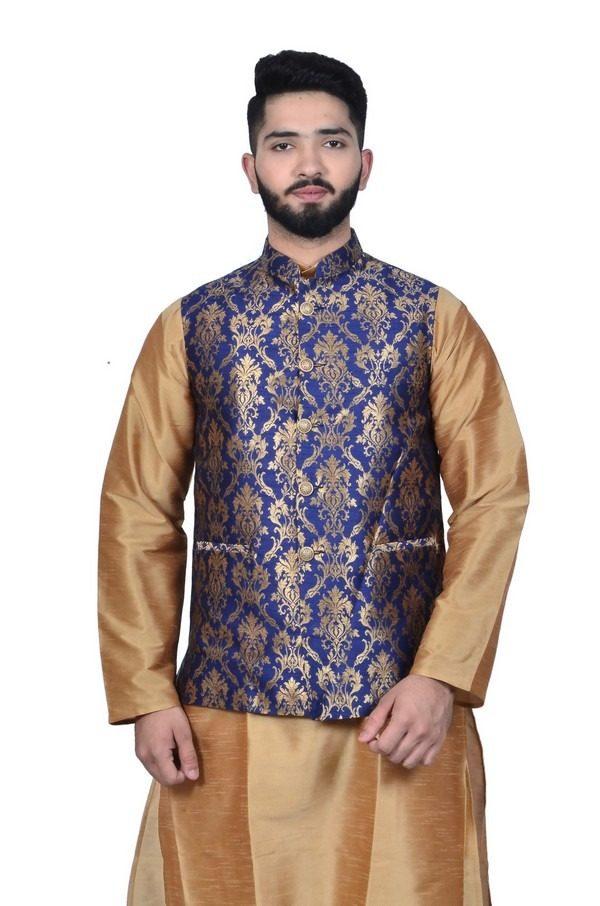 Royal Blue Brocade Waistcoat