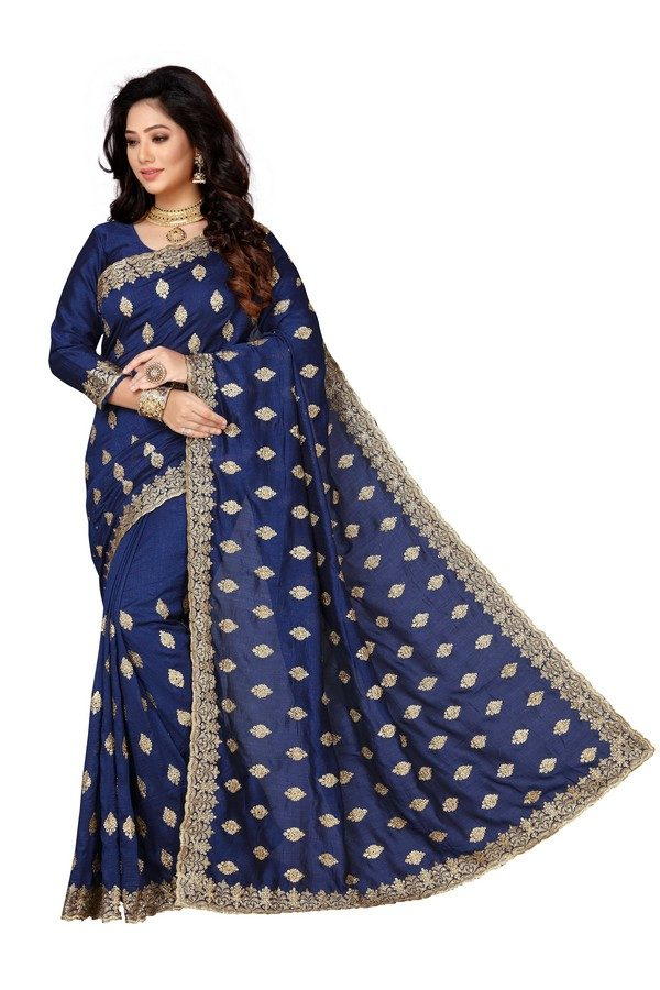 navy blue raw silk saree