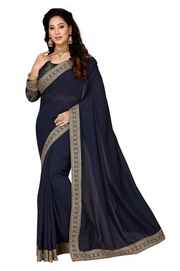 navy saree with heavy blouse