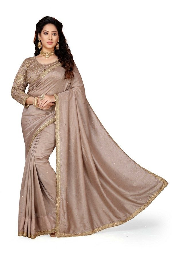 mousey grey plain designer saree with a heavy blouse