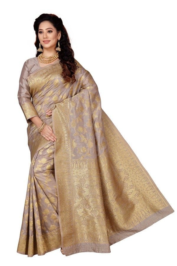 mousey grey silk saree