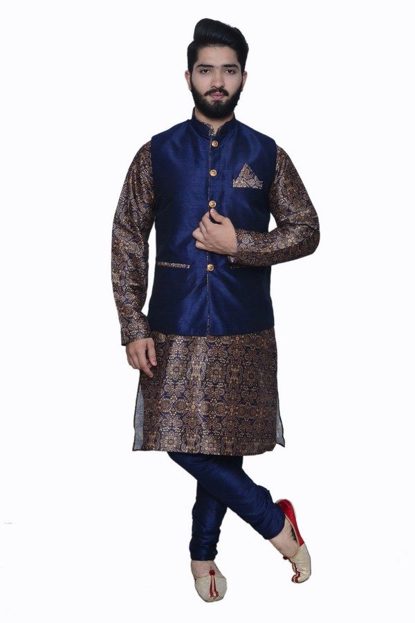 navy printed kurta with waistcoat