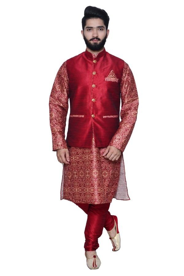 maroon printed kurta with waistcoat