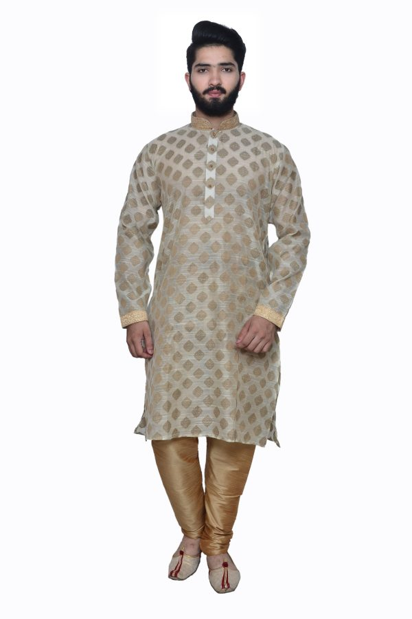 cream ivory brocade kurta
